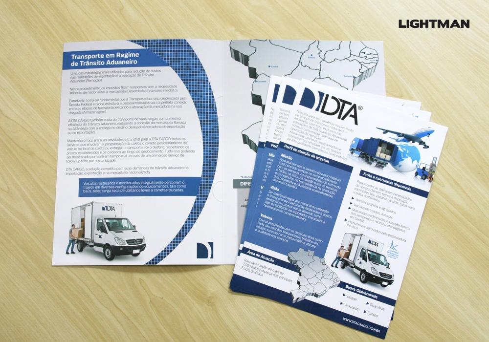 Folder Corporativo e Encarte DTA Cargo